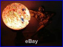 #183 VTG. ART DECO Spelter Lamp SEMI-NUDE WOMAN Figural Jewel tone Czech Shade