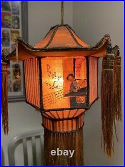 1920s Carved Dragon Table Lamp W Silk Shade