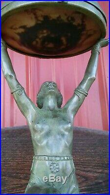 1930 Max Le Verrier Art Deco Nude Lady Lamp Vintage Spelter Figural Frankart Era