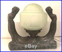 1930's Art Deco Nouveau Lady Girls Lamp Vintage Spelter Figural Frankart Era