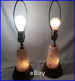1950's VTG Mid Century Modern Pink Glass Atomic Sputnik Starburst Table Lamps