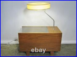 1950s George Nelson For Herman Miller Table Lamp With Glass Top & Single Drawer