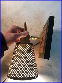 2 MCM Danish Modern Vintage Gruvwood Lamp Basket Weave Table Unit One Wall Unit