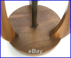 2 Mid Century Modern Teak Walnut Sculpted Twisted Vintage Table Lamp Pair