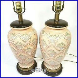 2 Vintage Frederick Cooper Lamps Pair Asian Oriental Vase Jar chicago