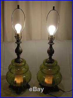2 Vtg MIDCENTURY RETRO 1970 EF EF INDUSTRIES Green Glass Table Lamps No Shade