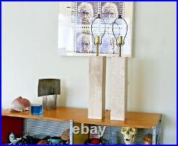 2 Vtg Mid Century Modern Marble Stone Cube Table Lamp Gibbings Nessen Kovacs