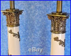 2 Vtg. STIFFEL Neo-Classical Mid-Century Column Torchiere Table Lamps- Nice Cond