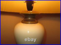 2 x Vintage BHS Off White & Bronze Ceramic Urn Table/Bedside Lamp Bases Pair
