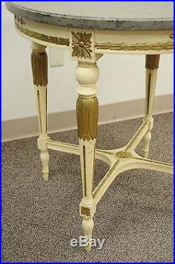 30 Round Vintage French Louis XVI Marble Granite Top Bouillotte Lamp Side Table