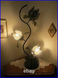 39 Italian Vintage 1980's MCM Glass Lotus Flowers Lamp -Multiple Light Settings