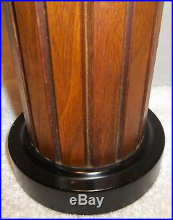AWESOME Pr. Vintage Mid Century Modern Teak Table Lamps Fiberglass Wicker Shades