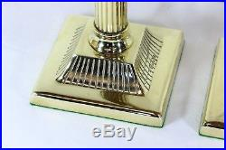 A Pair of Vintage Tall Solid Brass Table Lamps with Reeded Columns Antique Style
