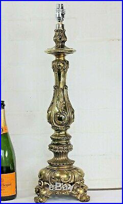 A Vintage Cast Brass Tall French Table Lamp Rococo Baroque Antique Style