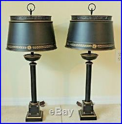 Amazing Pair Tall Antique/Vtg Black/Gold Painted Stencil Metal Tole Table Lamps