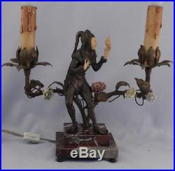 AntiqueVintage c1920 Pair Art Deco Figural LampsMinstrelsJoker & LadyVGC