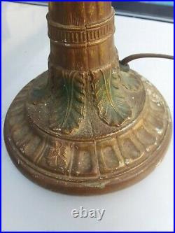 Antique 6 Panel Amber Slag Glass Boudoir Lamp Original Gold Paint Works good