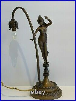 Antique Art Nouveau Figural Statue Table Lamp