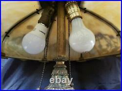 Antique Art Nouveau Slag Glass Lamp Marked Miller 8 Banded Panels Ornate Works