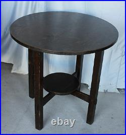 Antique Arts and Crafts Mission Oak Lamp Table Small Round Table