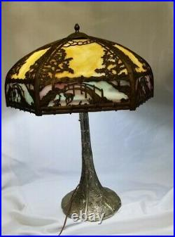 Antique Empire Lamp Company Slag Glass Lamp With Overlay Table Lamp