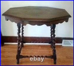 Antique English Barley Twist Lamp Table Side Accent Table Wood Vintage