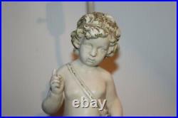 Antique Figural Table Lamp Angel Cherub Boy White Color Victorian Style Lamp