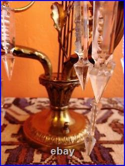 Antique French Crystal Art Nouveau Girandole Candelabra Table Lamp 3 Lights