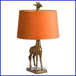 Antique Gold Giraffe Table Lamp With Burnt Orange Velvet Shade