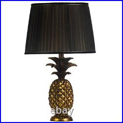 Antique Gold Pineapple Black Pleat Shade Hall Living Room Large Table Light Lamp