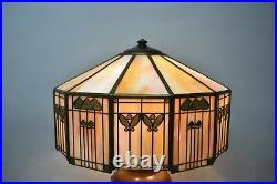 Antique Handel Arts & Crafts Slag Glass Panel Table Lamp Shade Signed