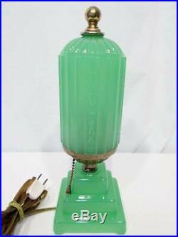 Antique JADEITE Green Depression Glass ART DECO SKYSCRAPER Table Lamp Vintage