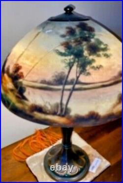Antique Jefferson Reverse Painted Table Lamp