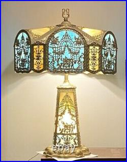 Antique Lighted Base Electric Slag Glass Panel Table Lamp