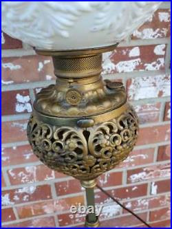 Antique Piano Parlor Floor Lamp Ornate Cast Iron Brass Marble 2 Tier Table