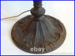 Antique Pittsburgh Reverse Painted Scenic Jungle Beach Scene Glass Table Lamp