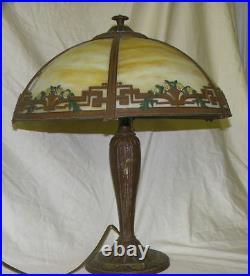 Antique Slag Glass Caramel Six Panel Electric Table Lamp