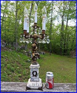 Antique Table Lamp Candelabra Cherub Angel Cupid Crystal Marble Brass 5 Lights