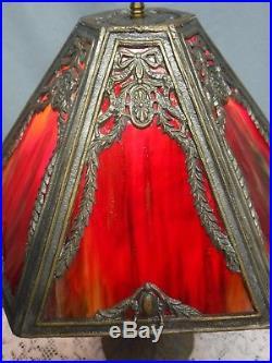 Antique Vintage 6 Panel Red Slag Glass Art Nouveau Handel Era Table Lamp Bows
