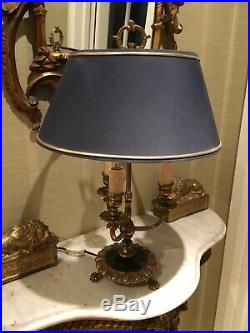 Antique Vintage Classical Bouillotte Table Lamp With Blue Shade