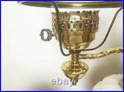 Antique/Vintage Double Brass Milk Glass Lamp