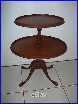 Antique Vintage Ferguson End Coffee Lamp Oval 2 Tier Pie Table chippendale NJ