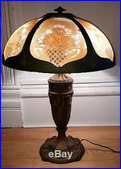 Antique Vtg Cast Metal Table Lamp with Ridged Reverse Printed Floral Panel Shade