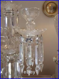 Antique Vtg Czech Bohemian Crystal Girandole Candelabra Chandelier Candle Holder