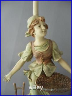 Antique Vtg French Francaise Paris Spelter Metal Peasant Couple Statue Lamp Pair