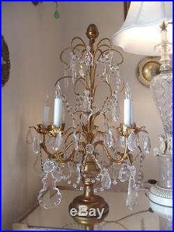 Antique XL Vtg Italian Gold Wood & Crystal Girandole Candelabra Chandelier Lamp