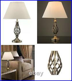 Barley Twist Traditional Table Lamp & Shade Antique Brass Lounge Bedside Lamps