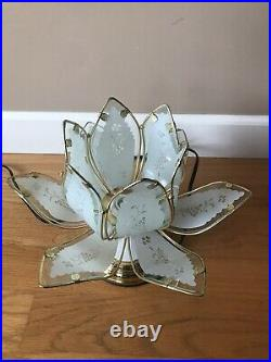 Beautiful Vintage Lotus Golden Glass Flower Petal Shaped Dimming Touch Lamp