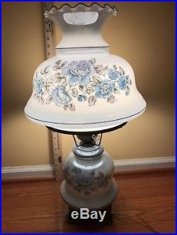 Big Vintage Antique Glass Globe Victorian Parlor Hurricane Lamp 3 Way Light Dome