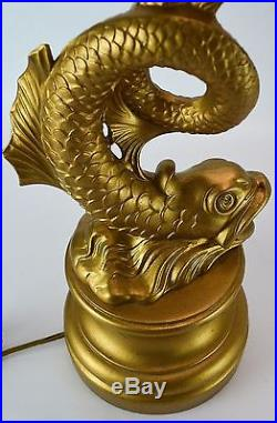 Brass Koi Torchiere Table Lamp Set Metal Gold Vintage Antique Fish Lamp Pair